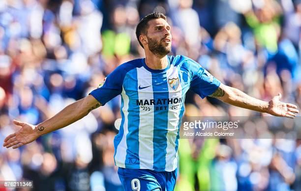 Borja Gonzalez celebrates after scoring the third goal for Malaga CF during the La Liga match between Malaga and Deportivo La Coruna at Estadio La...