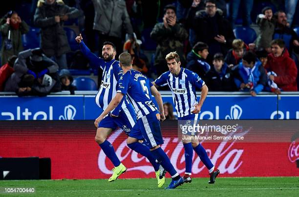 Borja Gonzalez of Deportivo Alaves celebrates after scoring his team's second goal during the La Liga match between Deportivo Alaves and Villarreal...