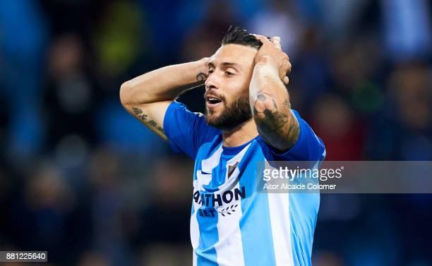 Borja Gonzalez of Malaga CF reacts during the Copa del Rey match between Malaga CF and Numancia at La Rosaleda Stadium on November 28 2017 in Malaga...