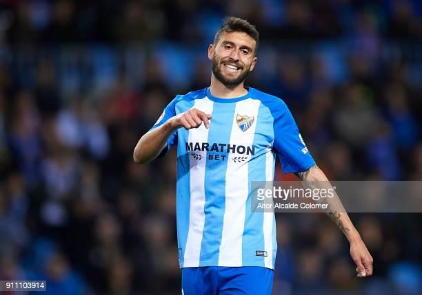 Borja Gonzalez of Malaga CF reacts during the La Liga match between Malaga and Girona at Estadio La Rosaleda on January 27 2018 in Malaga
