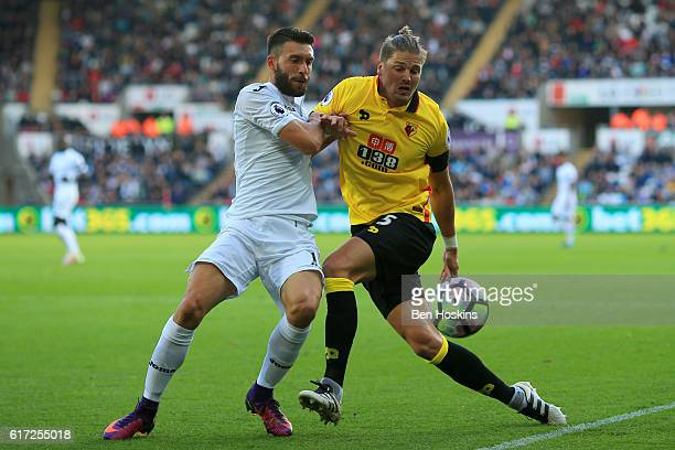Borja Gonzalez of Swansea City and Sebastian Prodl of Watford battle for possession during the Premier League match between Swansea City and Watford...