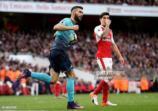 Borja Gonzalez of Swansea City celebrates scoring his sides second goal during the Premier League match between Arsenal and Swansea City at Emirates...