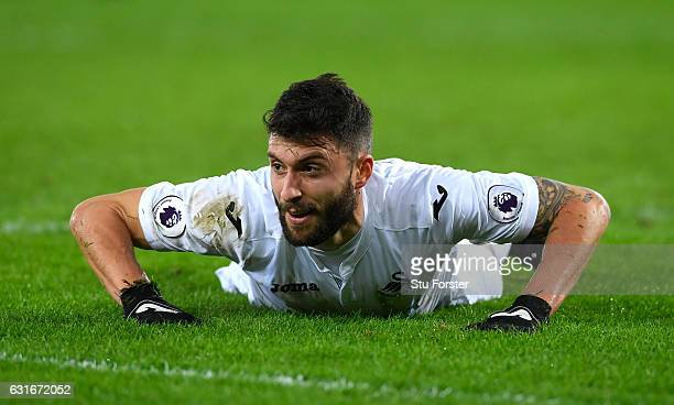 Borja Gonzalez of Swansea City reacts during the Premier League match between Swansea City and Arsenal at Liberty Stadium on January 14 2017 in...