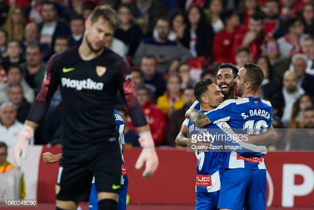 Borja Iglesias of Espanyol celebrates after scoring his sides first goal with his teammates Sergi Darder and Sergio Garcia during the La Liga match...