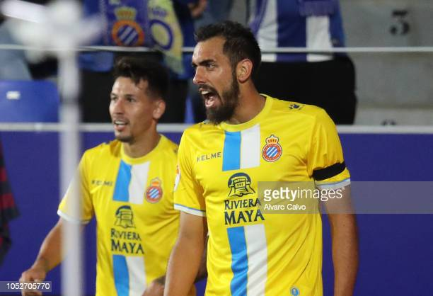 Borja Iglesias of RCD Espanyol celebrates goal during the La Liga match between SD Huesca and RCD Espanyol at El Alcoraz on October 21 2018 in Huesca...