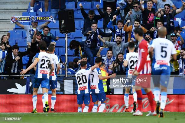 Borja Iglesias of RCD Espanyol celebrates scoring his sides third goal from the penalty spot during the La Liga match between RCD Espanyol and Club...