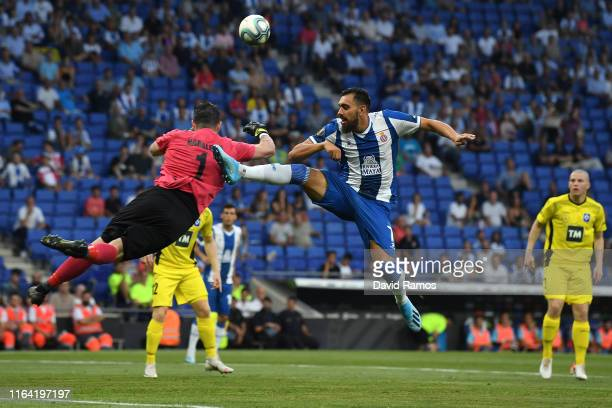Borja Iglesias of RCD Espanyol competes for the ball with Haraldur Bjornsson of Stjarnan during the UEFA Europa League Second Qualifying round 1st...