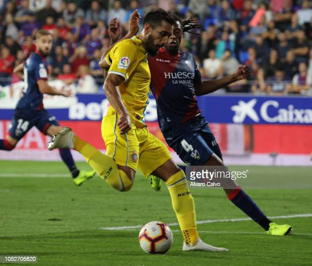 Borja Iglesias of RCD Espanyol during the La Liga match between SD Huesca and RCD Espanyol at El Alcoraz on October 21 2018 in Huesca Spain