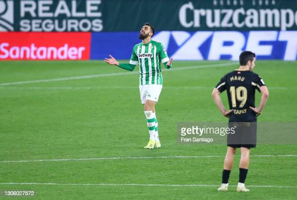 Borja Iglesias of Real Betis celebrates after scoring their side's third goal during the La Liga Santander match between Real Betis and Deportivo...