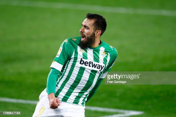 Borja Iglesias of Real Betis celebrates after scoring their team's first goal during the La Liga Santander match between Real Betis and C.A. Osasuna...