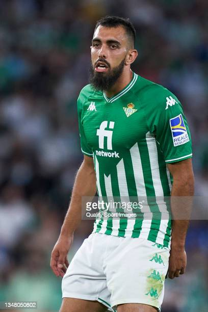 Borja Iglesias of Real Betis looks on during the UEFA Europa League group G match between Real Betis and Bayer Leverkusen at Estadio Benito...