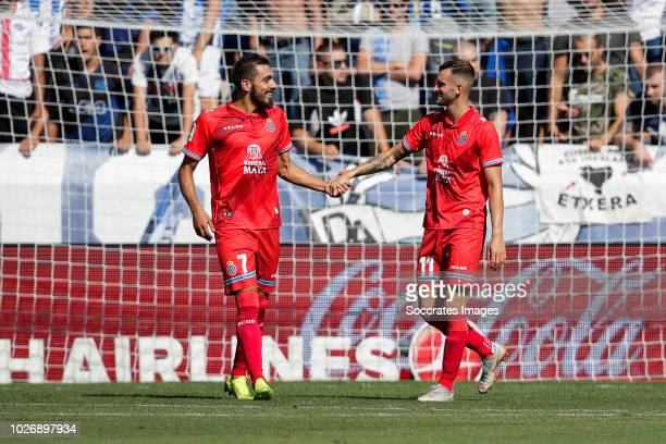 Borja Iglesias Quintas of RCD Espanyol Leo Baptistao of RCD Espanyol during the La Liga Santander match between Deportivo Alaves v Espanyol at the...