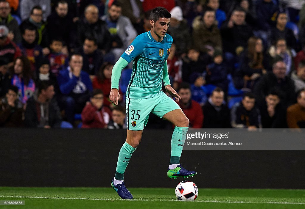 Borja Lopez of Barcelona controls the ball during the La Copa del Rey first leg match between Hercules CF and FC Barcelona at Jose Rico Perez on November 30, 2016 in Alicante, Spain.