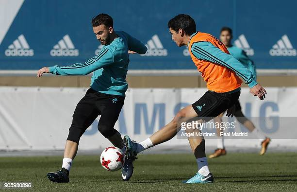 Borja Mayoral and Jesus Vallejo of Real Madrid in action during a training session at Valdebebas training ground on January 17 2018 in Madrid Spain
