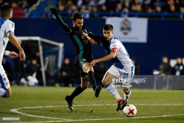 STADIUM LEGANéS MADRID SPAIN Borja Mayoral competes for the ball with Bustinza during the match Jan 2018 Leganés and Real Madrid CF at Butarque...