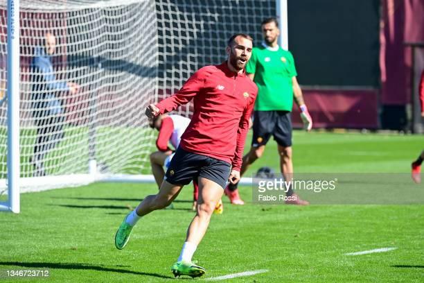 Borja Mayoral during a training session at Centro Sportivo Fulvio Bernardini on October 15, 2021 in Rome, Italy.