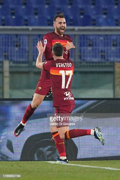 Borja Mayoral of A.S. Roma celebrates after scoring a goal during the Serie A match between AS Roma and Hellas Verona FC at Stadio Olimpico on...
