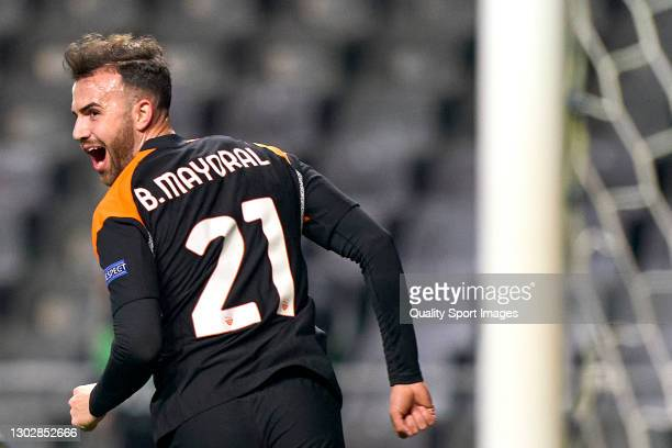 Borja Mayoral of AS Roma celebrates after scoring his team's second goal during the UEFA Europa League Round of 32 match between Sporting Braga and...
