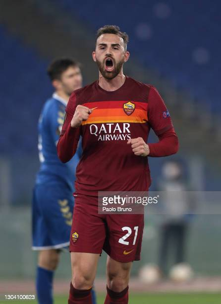 Borja Mayoral of A.S Roma celebrates after scoring his team's third goal during the UEFA Europa League Round of 32 match between AS Roma and Sporting...
