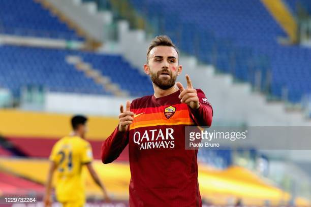 Borja Mayoral of AS Roma celebrates after scoring the opening goal during the Serie A match between AS Roma and Parma Calcio at Stadio Olimpico on...