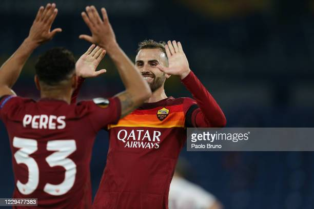 Borja Mayoral of AS Roma celebrates after scoring the team's third 's goal during the UEFA Europa League Group A stage match between AS Roma and CFR...