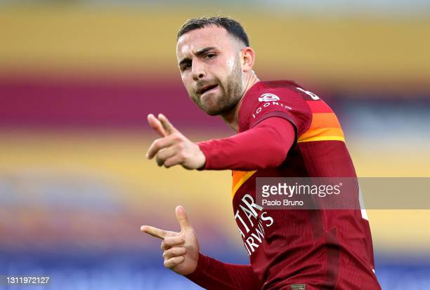 Borja Mayoral of A.S Roma celebrates after scoring their side's first goal during the Serie A match between AS Roma and Bologna FC at Stadio Olimpico...