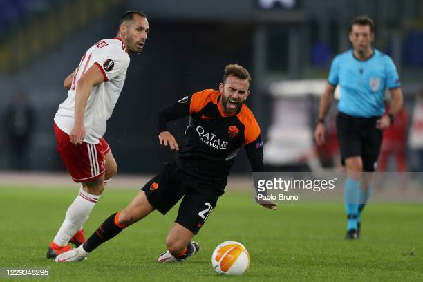 Borja Mayoral of AS Roma competes for the ball with Peter Zanev of CSKA-Sofia during the UEFA Europa League Group A stage match between AS Roma and...
