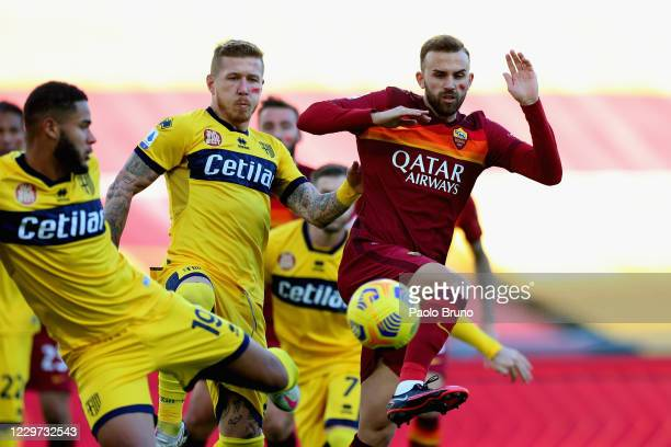 Borja Mayoral of AS Roma in action during the Serie A match between AS Roma and Parma Calcio at Stadio Olimpico on November 22 2020 in Rome Italy