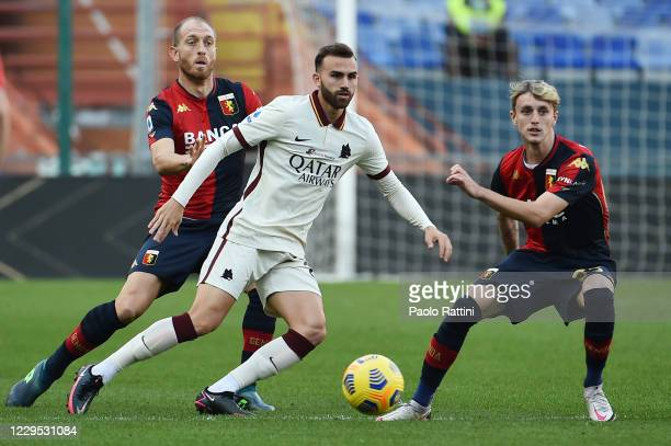 Borja Mayoral of AS Roma opposed to Andrea Masiello and Nicolò Rovella of Genoa CFC during the Serie A match between Genoa CFC and AS Roma at Stadio...