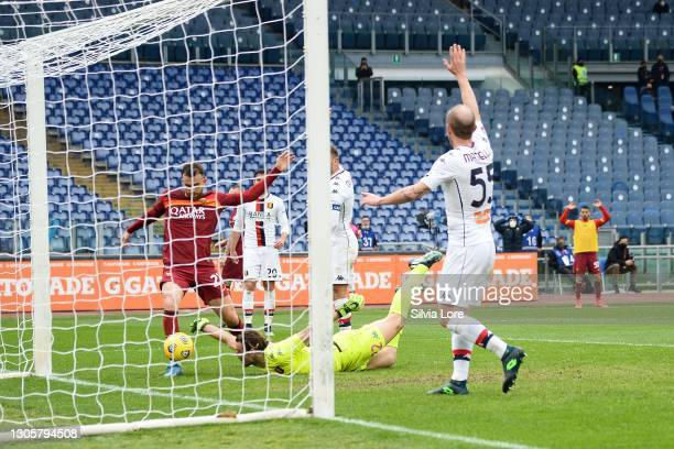 Borja Mayoral of AS Roma scores a goal that was disallowed during the Serie A match between AS Roma and Genoa CFC at Stadio Olimpico on March 07,...