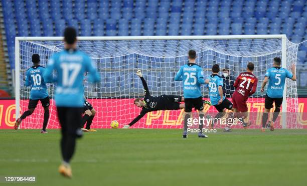 Borja Mayoral of A.S Roma scores his team's second goal past Ivan Provedel of Spezia Calcio during the Serie A match between AS Roma and Spezia...
