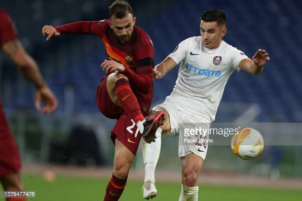 Borja Mayoral of AS Roma scores the team's third 's goal during the UEFA Europa League Group A stage match between AS Roma and CFR Cluj at Stadio...