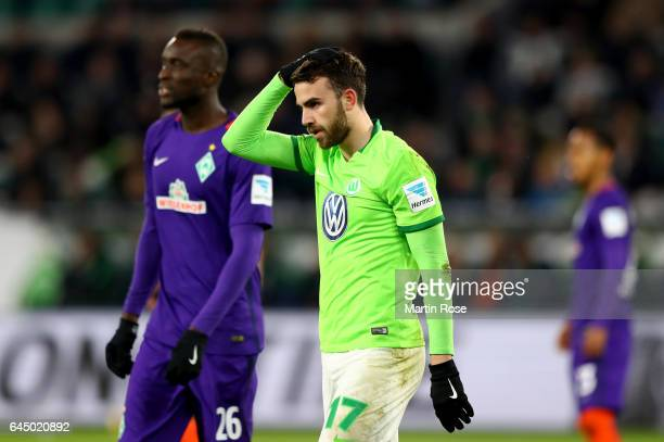 Borja Mayoral of Bremen reacts during the Bundesliga match between VfL Wolfsburg and Werder Bremen at Volkswagen Arena on February 24 2017 in...