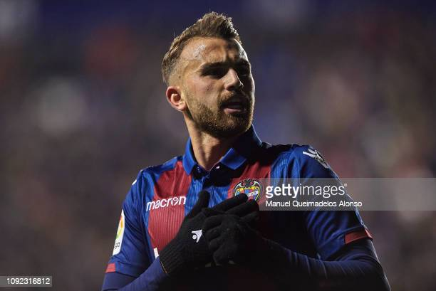 Borja Mayoral of Levante UD celebrates after scoring his side's second goal during the Copa del Rey Round of 16 first leg match between Levante UD...