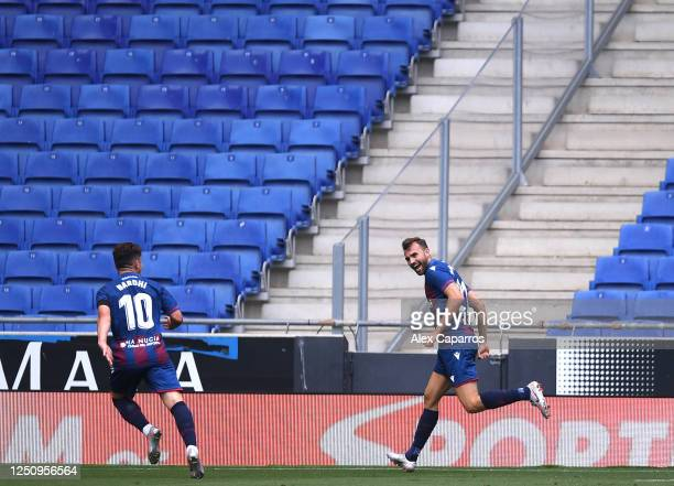 Borja Mayoral of Levante UD celebrates after scoring his team's first goal during the Liga match between RCD Espanyol and Levante UD at RCDE Stadium...
