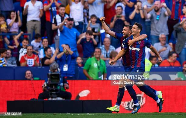 Borja Mayoral of Levante UD celebrates scoring his team's goal during the Liga match between Levante UD and FC Barcelona at Ciutat de Valencia on...