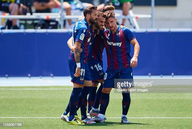 Borja Mayoral of Levante UD celebrates scoring his team's goal during the Liga match between Levante UD and Real Betis Balompie at Ciutat Deportiva...