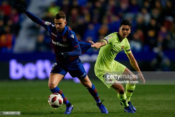 Borja Mayoral of Levante UD competes for the ball with Chumi of FC Barcelona during the Copa del Rey Round of 16 match between Levante UD and FC...