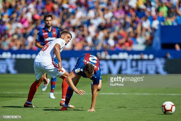 Enis Bardhi of Levante UD runs during the La Liga match between Levante UD and Sevilla FC at Ciutat de Valencia on September 23 2018 in Valencia Spain