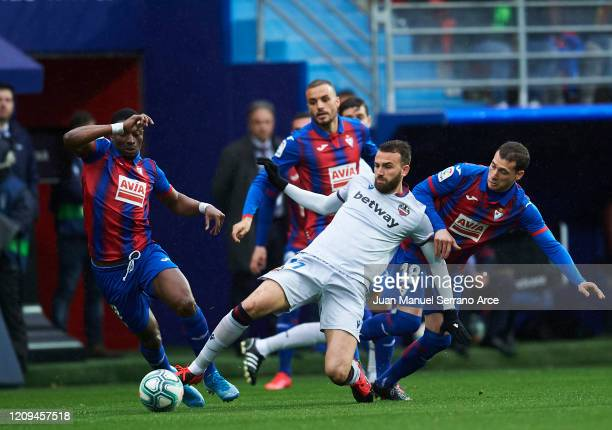 Borja Mayoral of Levante UD duels for the ball with Sebastian Cristoforo of SD Eibar during the Liga match between SD Eibar SAD and Levante UD at...