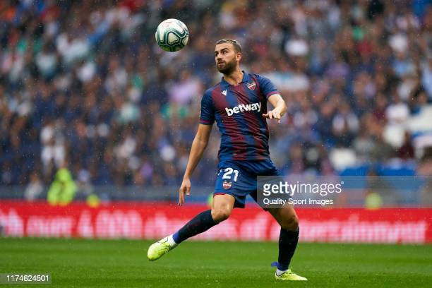 Borja Mayoral of Levante UD in action during the La Liga match between Real Madrid CF and Levante UD at Estadio Santiago Bernabeu on September 14...