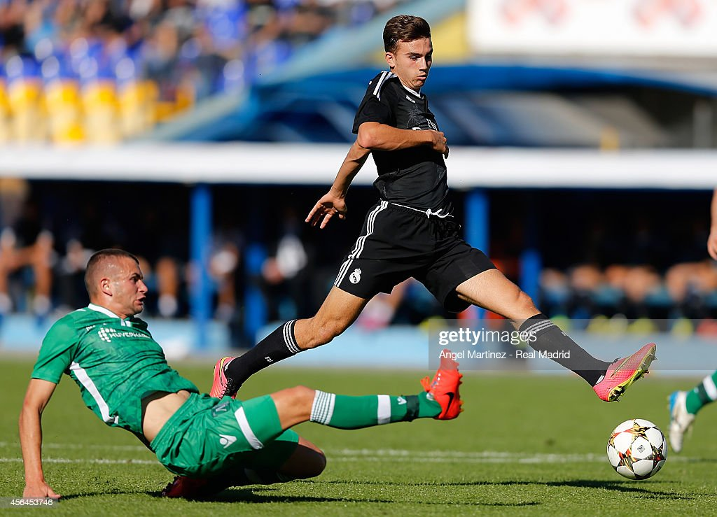 Borja Mayoral of Real Madrid Academy competes for the ball with Aleksandar Georgiev of Ludogorets during the UEFA Youth Champions League match between PFC Ludogorets Razgrad and Real Madrid at Georgi Asparuhov Stadion on October 1, 2014 in Sofia, Bulgaria.