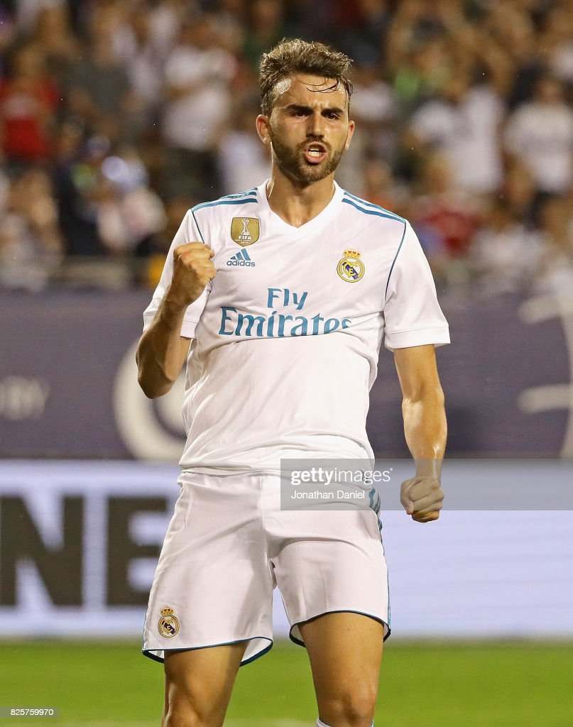 Borja Mayoral #21 of Real Madrid celebrates after scoring a goal against the MLS All-Stars during the 2017 MLS All- Star Game at Soldier Field on August 2, 2017 in Chicago, Illinois. Real Madrid deefated the MLS All-Stars 4-2 in a shootout following a 1-1 regulation tie.