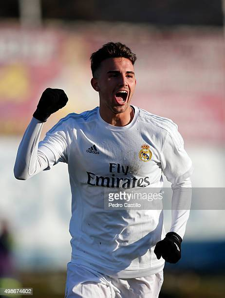 Borja Mayoral of Real MAdrid celebrates after scoring his first goal during the UEFA Youth League match between FC Shakhtar Donetsk and Real Madrid...