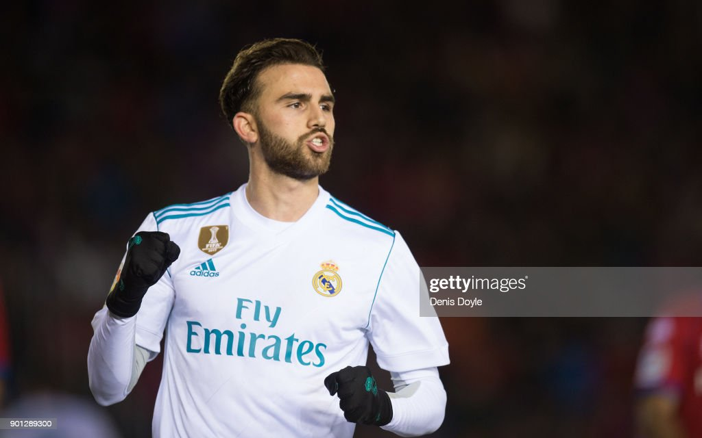 Borja Mayoral of Real Madrid celebrates after scoring his team's 3rd goal during the Copa del Rey match between Numancia and Real Madrid at Nuevo Estadio Los Pajarito on January 4, 2018 in Soria, Spain.