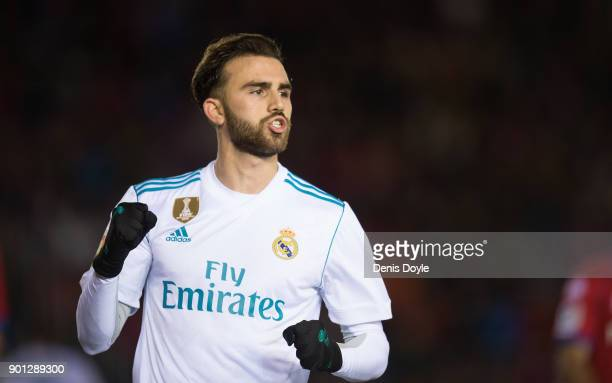 Borja Mayoral of Real Madrid celebrates after scoring his team's 3rd goal during the Copa del Rey match between Numancia and Real Madrid at Nuevo...