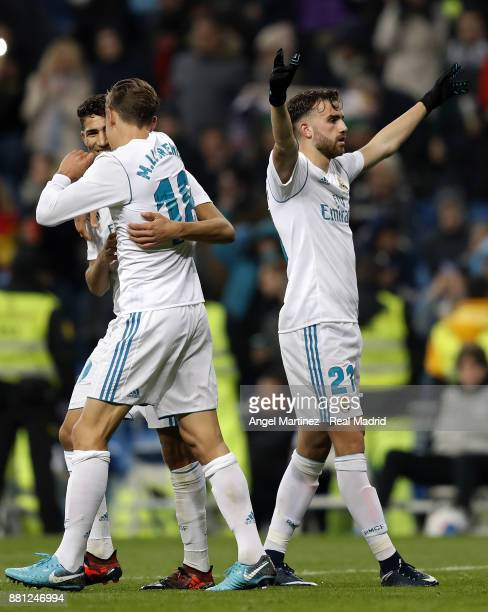 Borja Mayoral of Real Madrid celebrates after scoring his team's first goal during the Copa del Rey round of 32 second leg match between Real Madrid...