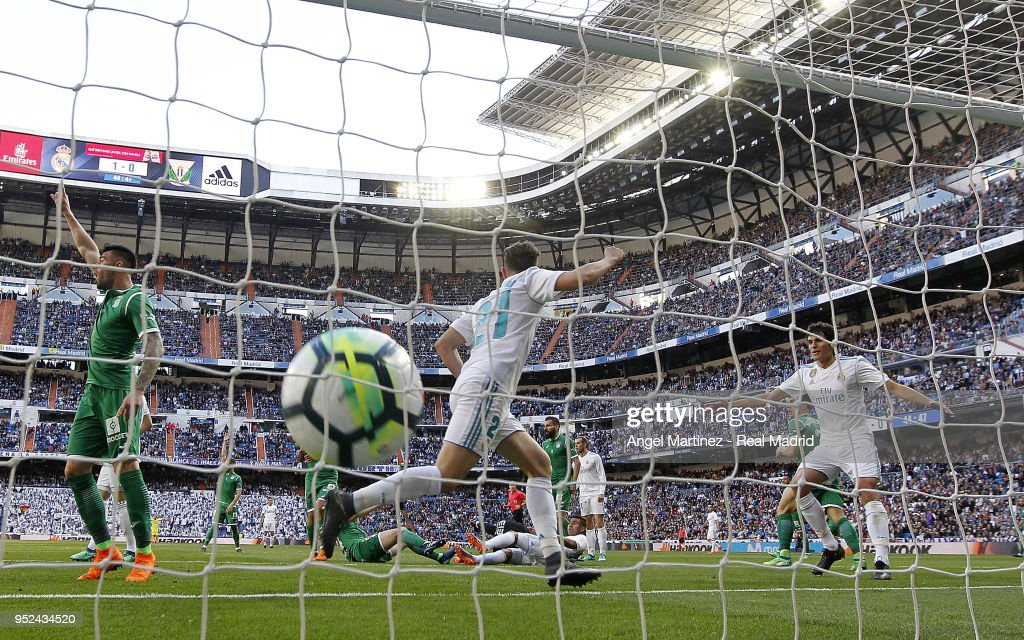 Borja Mayoral of Real Madrid celebrates after scoring his team's second goal during the La Liga match between Real Madrid and Leganes at Estadio Santiago Bernabeu on April 28, 2018 in Madrid, Spain.