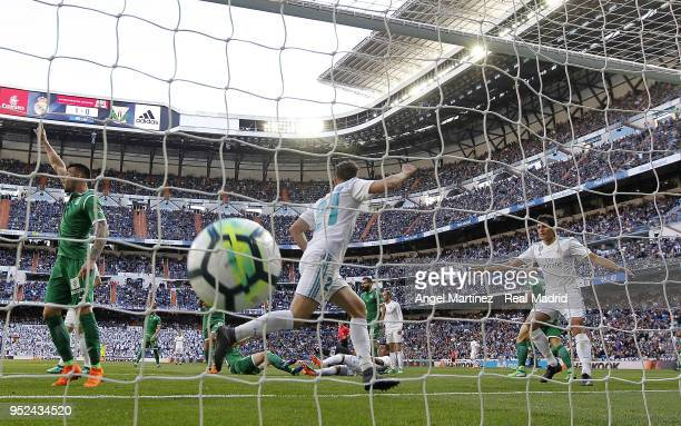 Borja Mayoral of Real Madrid celebrates after scoring his team's second goal during the La Liga match between Real Madrid and Leganes at Estadio...