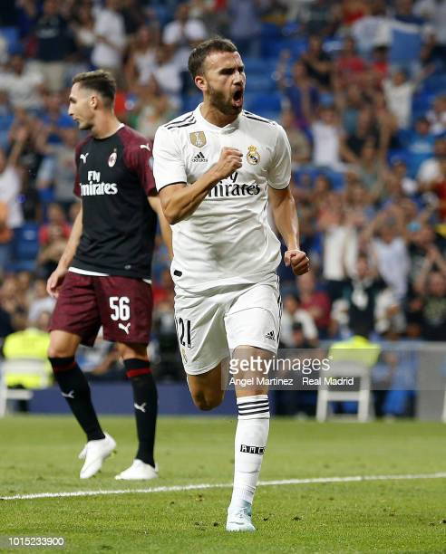 Borja Mayoral of Real Madrid celebrates after scoring his team's third goal during the Trofeo Santiago Bernabeu match between Real Madrid and AC...